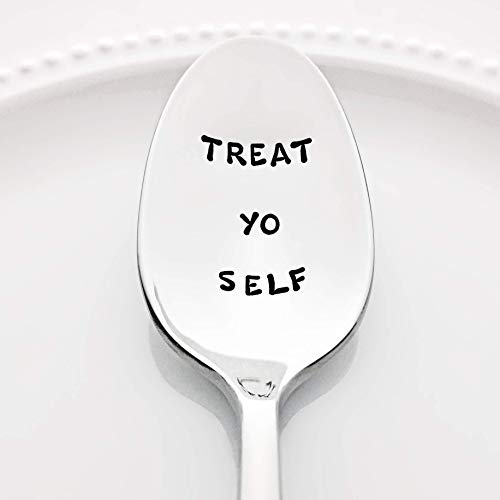 Parks and Recreation: Treat Yo Self - (Option to Personalize with a Name) -Stainless Steel Stamped Spoon   Valentine Gift for Her   Self Care Gift for Friends   Mother's Day Gift for Mom