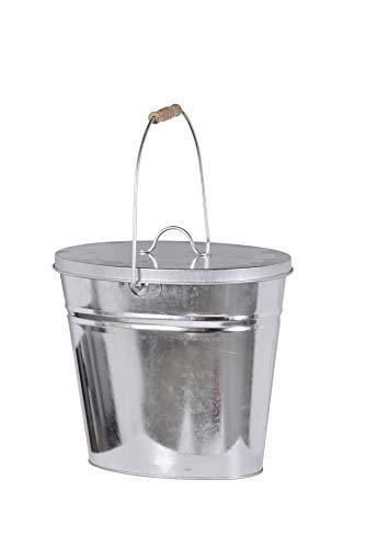 FIREFIX 2088/1 Mehrzweckeimer-Inhalt ca. 12,5 Liter-mit Deckel und Holzgriff, Stahlblech verzinkt, 340 x 230 x 300 (BxTxH), Silber