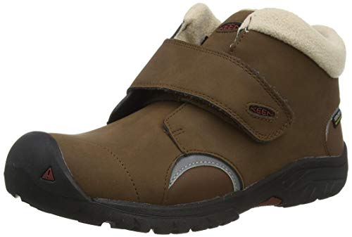 KEEN Kootenay 3 Mid Waterproof Hiking Boot, Bison/Fired Brick, 8 US Unisex Little Kid