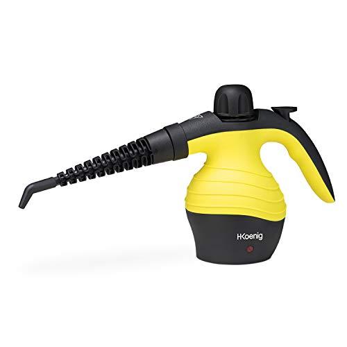 H.Koenig NV60 Limpiador A Vapor Compacto, Vaporeta 1000W, 4,2 Bares, Capacidad de Agua de 350 ml, Plástico, Amarillo