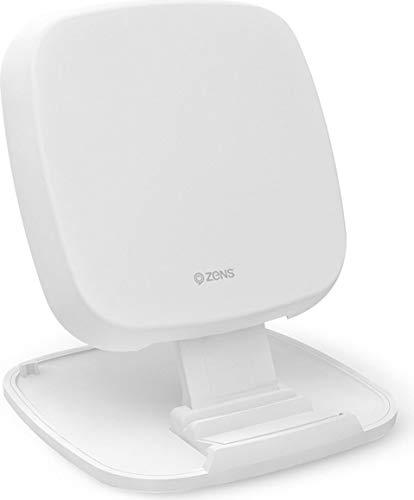 ZENS Qi-certified wireless quick charge pad/stand 10W blanco, diseño convertible, soporta carga rápida inalámbrica de hasta 10W - Funciona con todos los teléfonos con carga inalámbrica