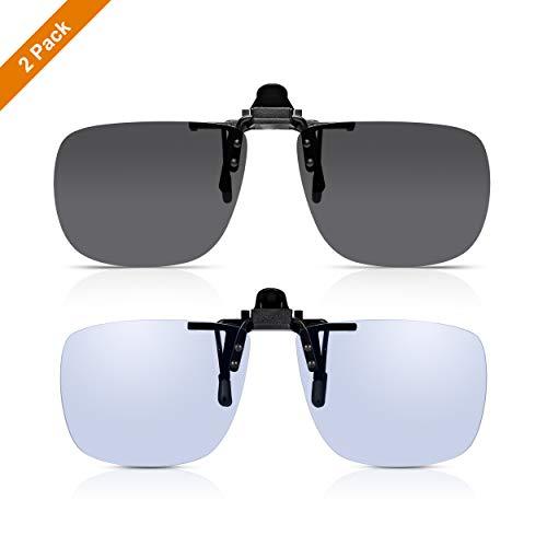 Read Optics Clip-On Sonnenbrille + klare Blaulicht Computerbrille. Entspiegelter, TAC polarisierter Flip-Up Aufsatz mit Premium Rayguard® UV400 Gläsern. Besser sehen, weniger Augenbelastung. 2er Pack
