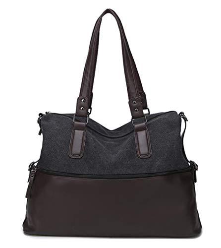 Bolsas de viaje de tela de poliuretano + equipaje de mano, bolsas de viaje, bolsas de viaje, bolsa de viaje grande de fin de semana., negro (Negro) - FTHB190803