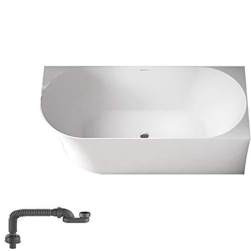 Freistehende Raumsparbadewanne NOVA SLIM LINE Acryl Weiß glänzend - Einbau Rechts - Ohne Standarmatur & Siphon, 150 x 78 cm