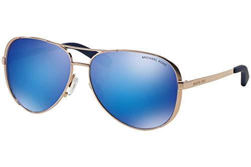 Michael Kors MK5004 Chelsea Aviator Sunglasses Rose Gold w/Blue Mirror (1003/25) MK 5004 100325 59mm Authentic