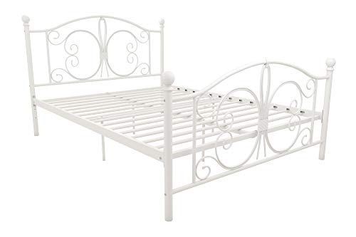 dhp full size bed frames DHP Bombay Metal Bed Frame - Vintage Design - Full Size (White)