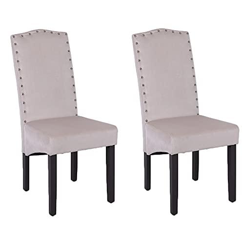 PS Global 2er-Set Quality Knockerback Velvet Dining Chairs - Einfache Montage Esszimmer, Küche, Chrom Knockerback Chairs 2 (Creme)