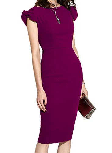 WOOSUNZE Women's Cap Sleeve Slim Bodycon Business Pencil Dress