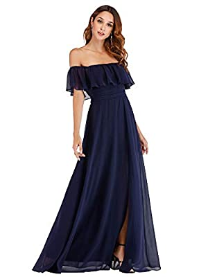 Women's Off Shoulder Summer Casual Beach Dress Side Split Maxi Dress Navy US4