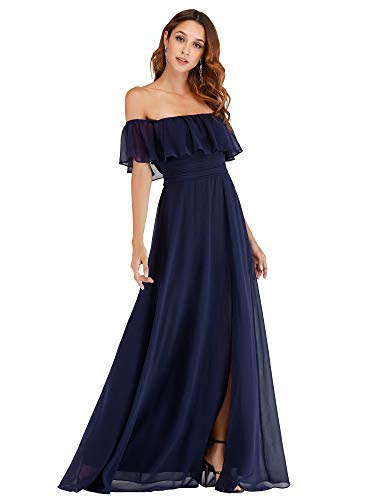 Ever-Pretty Women's Off Shoulder Ruffle Maxi Dress Empire Waist Casual Party Dress Navy US6