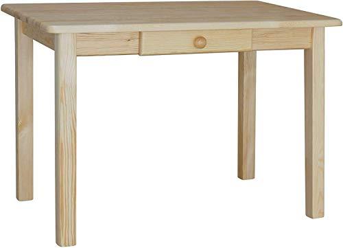 koma Mesa de comedor con cajón, mesa de cocina, mesa de comedor de pino macizo, restaurante (70 x 110 cm)
