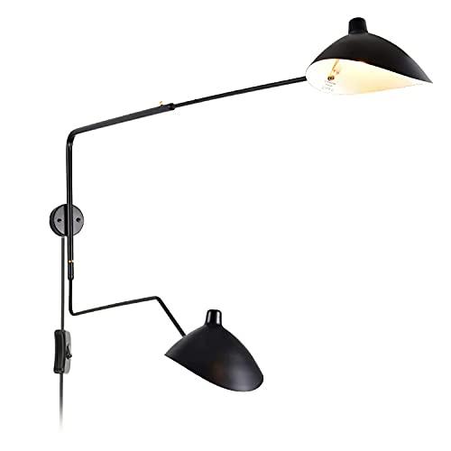 Applique Murale Double à 2 Lampes Vintage Salon avec Interrupteur, Bras Long Lampe de Chevet Murale avec Prise, Lampes de Lecture Réglable, Câble de 1,8 M, 2xE27, pour Chambre Salle de séjour, 100cm B