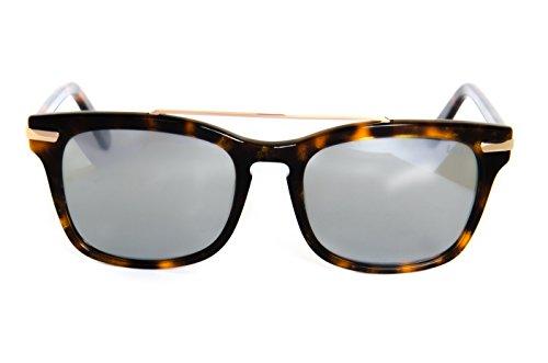 Lois - Risk HA Havana, Gafas de Sol Moda Unisex Pasta, Havana/Gris Espejo Polarizada unisex rectangulares polarizado Plateado