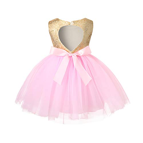 YOUNGER TREE Toddler Baby Girls Dress Sleeveless Sequins Party Dresses Princess Lace Tulle Tutu Dress Pink
