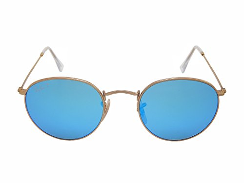 Ray-Ban RB3447 112/4L 50mm Unisex Retro Vintage Round Gold Metal Matte Blue Polarised Mirror Sunglasses Made In Italy