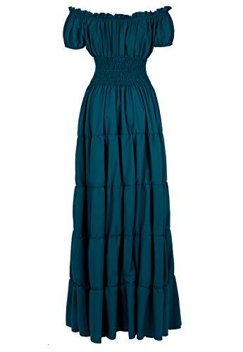 Renaissance Costume Women Medieval Chemise Dress Peasant Tops Irish Under Dress Dark Green-S