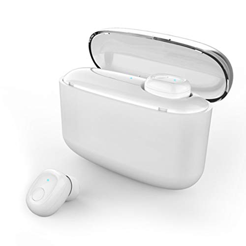 Sport Auricular Bluetooth en Oreja Cancelación del Ruido Auriculares Stereo con 3500mAh Caja de Carga con Digital Display para Deportes/Casa/Trabajo/iOS/Android TWS Auricular Earbuds,White single