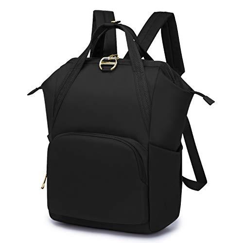 Wind Took Anti-Theft Rucksack Damen Daypack Schulrucksack Nylon Mode Medium für Schule Büro Alltag, 27 x 17 x 39 cm, Schwarz
