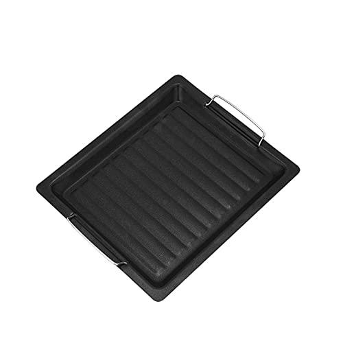 WSY Schwarz BBQ Grill Pan Dauerhaft Grillplatte Antihaft Pan Küche Outdoor Grill Camping Kochwerkzeuge (Color : Black)