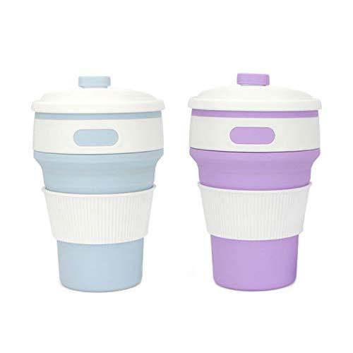 SLKIJDHFB Vasos plegables, silicona de grado alimenticio, capacidad de 350 ml, taza de viaje portátil, plegable, apto para campamentos al aire libre, oficina (morado+azul)