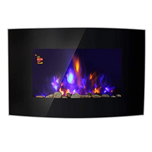 """Lincsfire Harby 42"""" 2KW Black Curved Glass Screen Wall Mounted Electric Fire Flame Effect Fireplace Heater Stove 7 Day Programmable Remote Control"""