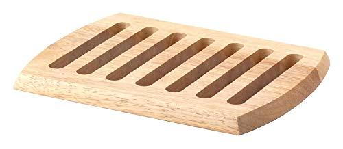 Continenta rechteckiger Holz-Untersetzer aus Gummibaumholz, Unterlage für Töpfe und Pfannen, Größe: 26 x 20 x 1,5 cm