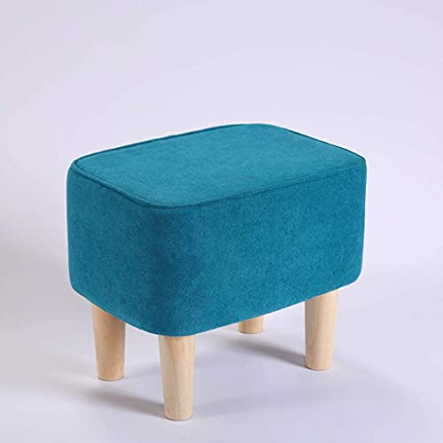 Velvet Footrest Stool Square Modern Luxe Velvet Ottoman Foothocker Side Table Coffee Table Stool with Wooden Legs (Color: Blue)