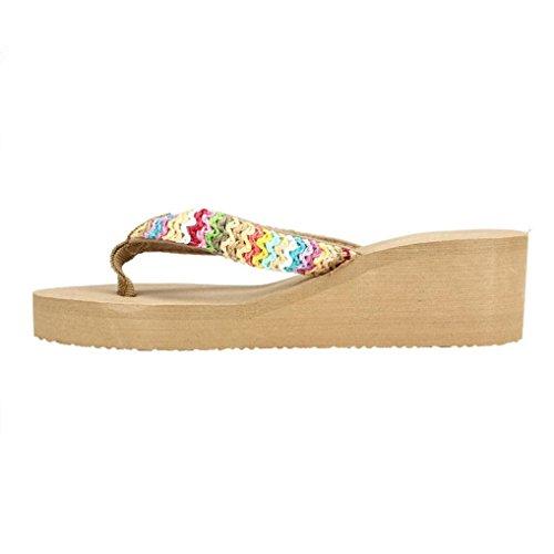 LuckyGirls Sandalias Mujer Chancleta Verano Crochet Bohemia Estilo Antideslizante Moda Cómodos Casual Zapatos Chanclas Playa Zapatillas de Suela Gruesa