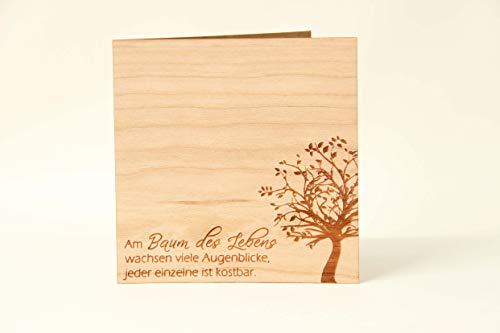 Original Holzgrußkarte - Baum des Lebens - 100% Made in Austria, besteht aus Kirschholz - einzigartige Grußkarte mit Bedeutung geeignet als Postkarte, Grußkarte, Spruchkarte, Bildpostkarte uvm.