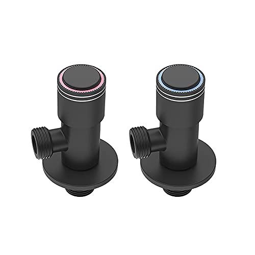 DERUKK-TY 2 unids válvula de parada de ángulo de 1/2 'válvula de cierre de acero inoxidable con interruptor de botón de desviación, accesorio de ducha válvula triángulo para baño inodoro bidé