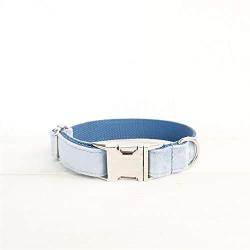 YXZQ Collar para Perros al Aire Libre Collar de Perro de Mascota Collar de tracción de Perro de Terciopelo Grueso Doble For Dog Decoration (Color : Blue Thick Velvet, Size : Customized)