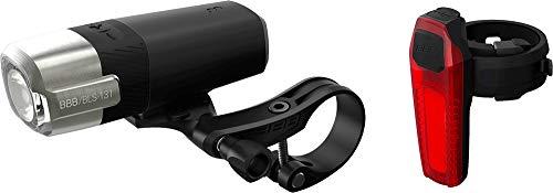 BBB Unisex-Adult BLS-133 Cycling Fahrradbeleuchtung ComboStrike 500 Lumen| FahrradLeuchtenset mit Vorder-und Rücklicht| USB wiederaufladbar, schwarz