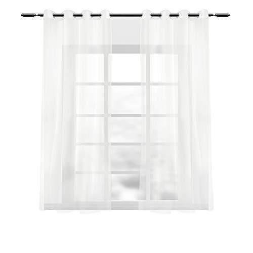 WOLTU Cortinas Translucidas con Ojales Bufanda Moderna para salón habitación y Dormitorio adornar Ventana Anti-UV Respirable 140x175cm 2 Piezas Crema VH5514cm-2