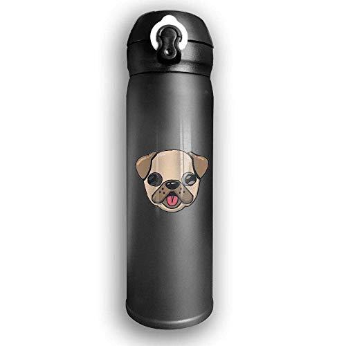 Bestqe Vakuumisolierte Trinkflasche,Wasserflasche,Thermosflasche, Pugs Dog Cartoon Stainless Steel Mug 17 OZ Double...