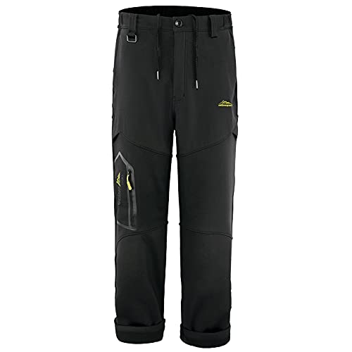 Mens Casual Wild Cargo Pants Outdoor Work Wear with Pockets Waterproof fleece Lined Sweatpants for Climbing Hiking Black