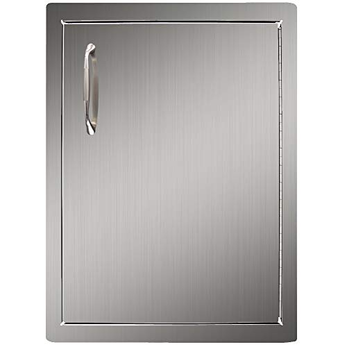 YXHARD Outdoor Kitchen Access Door,304 Brushed Stainless Steel 16 Wx 22 H Inches Single BBQ Access Door,Wall Construction for Outdoor Kitchen,Grilling Station or Commercial BBQ Island