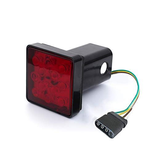 CZC AUTO Red Lens Trailer Hitch Cover with 12 LED Brake Light Fit 2' Receiver