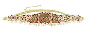 UG PRODUCTS Bharatanatyam Copper Yellow Kamarbandh with Green and Red Kemp Stones for Women