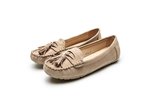 Comfortable Foldable Slip On Loafers Moccasins Driving & Walking Flats Cushioned Insole Shoes for Women, Ashley Taupe Size 10