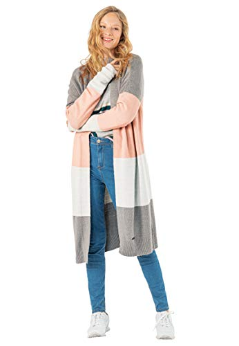 Eight2Nine Lange Damen Strickjacke Cardigan mit Streifen Rose L