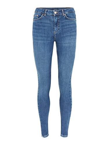 PIECES Female Slim Fit Jeans Mid Waist L32Medium Blue Denim
