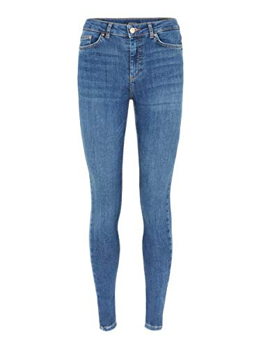 PIECES PCDELLY SKN MW MB184-BA/NOOS Jeans Skinny, Blu (Medium Blue Denim Medium Blue Denim), 36/L30 (Taglia Unica: Small) Donna