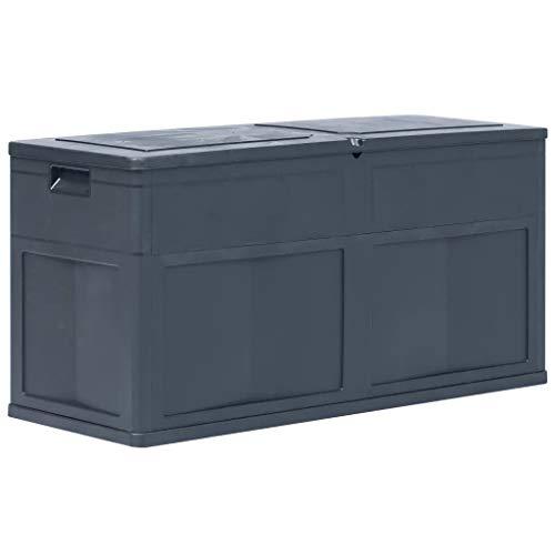 Sunlight-Outdoor Plastic Garden Storage Shed, 320L Garden Storage Bench Box Large Cpacity Storage Box for Garden Waterproof and Lockable, 119 x 46 x 60 cm (L x W x H), Black