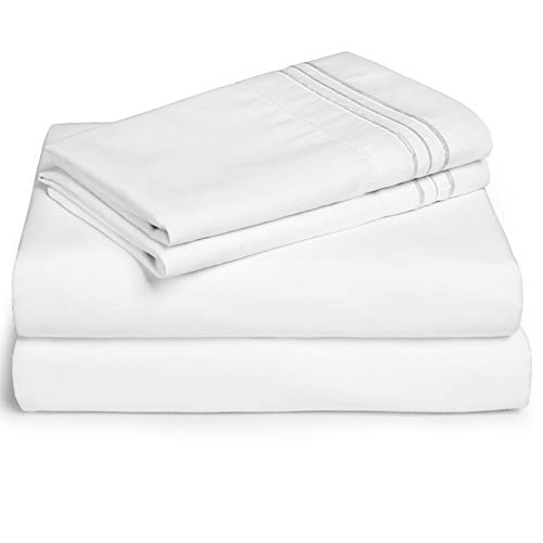 EDILLY Queen Bed Sheet Set 4 Piece Hotel Luxury Sheets - Ultra Soft Microfiber 1800 Series Bedding Deep Pocket Hypoallergenic Wrinkle & Fade Resistant (Queen, White)…
