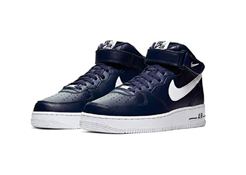 Nike Air Force 1 Mid 07 Leather Sneaker Trainer (43 EU, Navy/White)