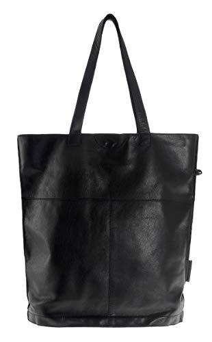 Wensleder shopper tas van echt leer met magneetsluiting en binnentas sporttas, zwart