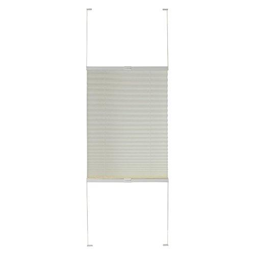 dtch Plissee verspannt weiß Breite wählbar 40-120cm Länge 130cm - Klemmfixbefestigung möglich (120 x 130cm)