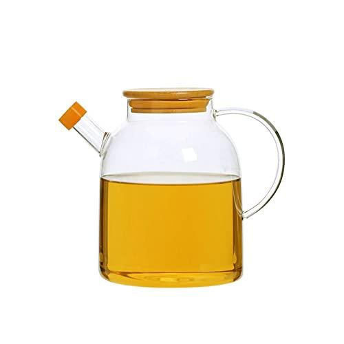 Hanpiyigyh Aceitera, Botella del dispensador de Aceite de cocción de Vidrio con Tapa de Acero Inoxidable, Goteo de Goteo contenedor de condimento a Prueba de Fugas para Cocina Tamaño de cocción: 18.5
