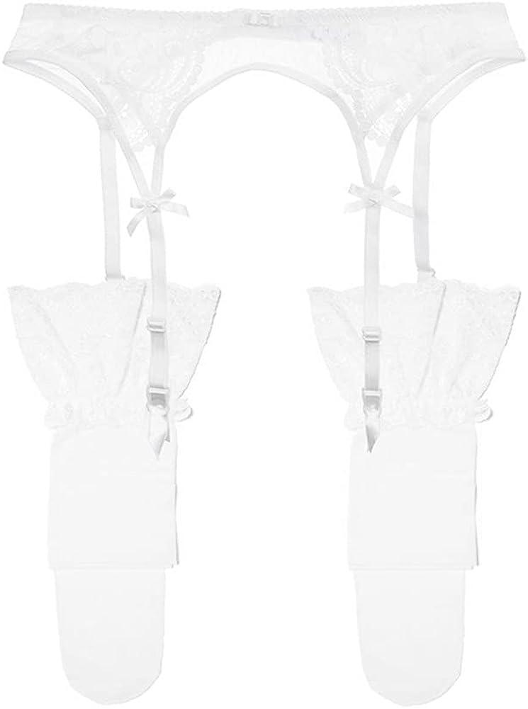 Women's Lace Garter Belt Metal Clips Suspender Belt and Stockings