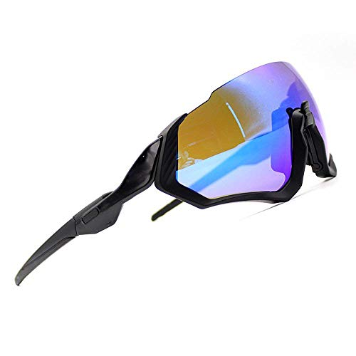 ZoliTime 2018 New Oakley OO9401flight Jacket Gafas de Ciclismo (Marco Negro + Lente Azul)